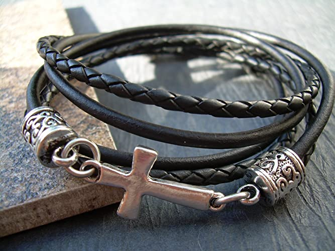 Amazon Com Leather Bracelet Cross Bracelet Cross Religious Gift