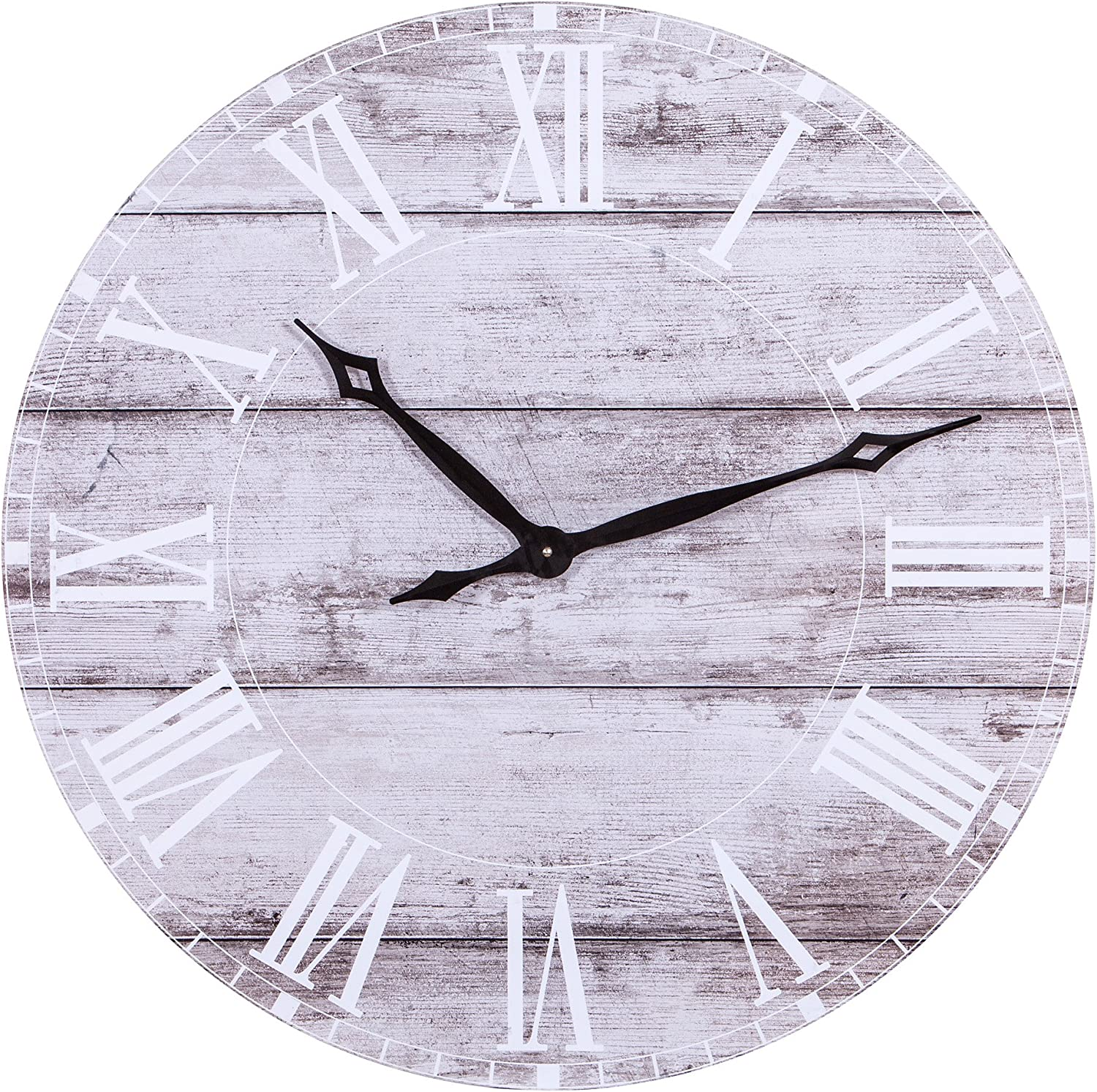 "Patton Wall Décor Frameless Rustic Wood Plank Wall Clock, 30"", White Washed"
