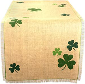 "DII 14x74"" Jute/Burlap Table Runner, Green Shamrock Clover - Perfect for St. Patrick's day, Spring, Dinner Parties, or Everyday Use"