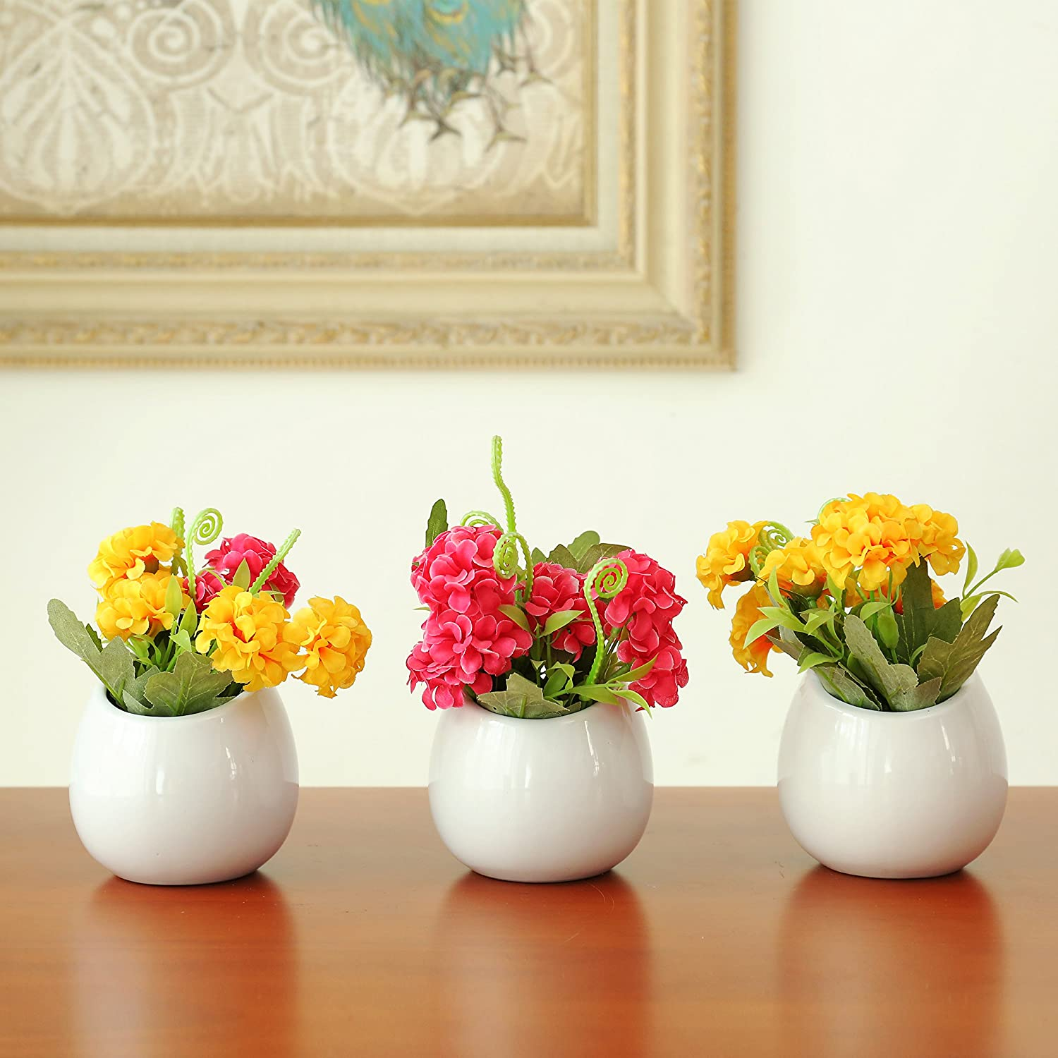 Amazon.com: Set of 3 Mini White Ceramic Wall Mountable Plant Vase, 4 ...