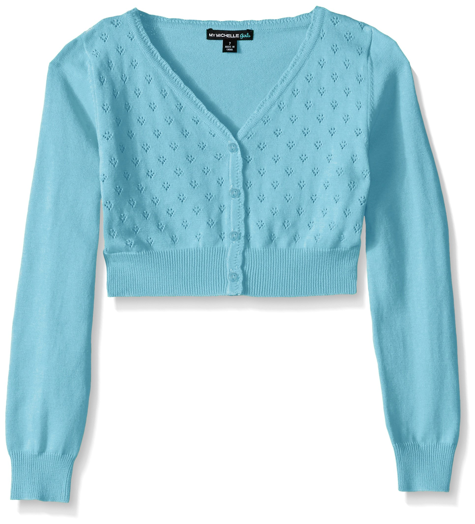My Michelle Big Girls Heart Pointelle Long Sleeve Cardigan with Button Front, Blue/Frozen Blue, 14