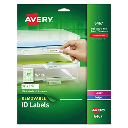 Avery Self Adhesive White Removable Laser Id Labels 12 X 1 34 2000 Per Pack 6467