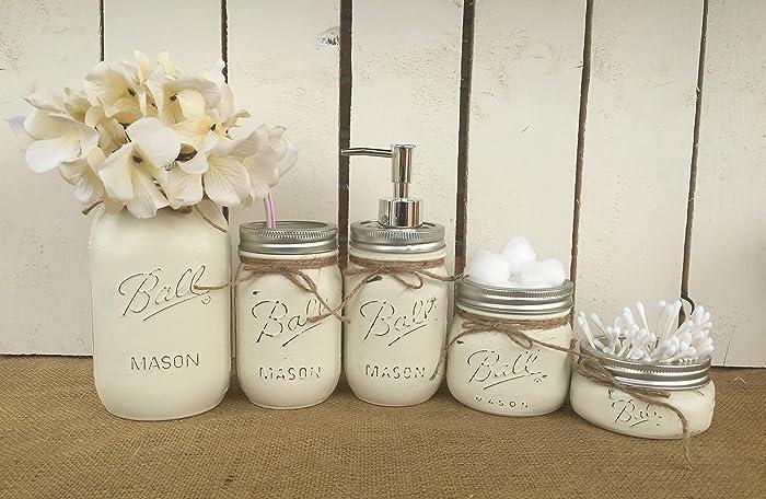Painted Mason Jar Bathroom Set Of 5 | Antique White Rustic Distressed  Farmhouse Decor Bathroom Soap