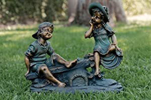 Alpine Girl and Boy Playing on Teeter Totter Statue, 14 Inch Tall