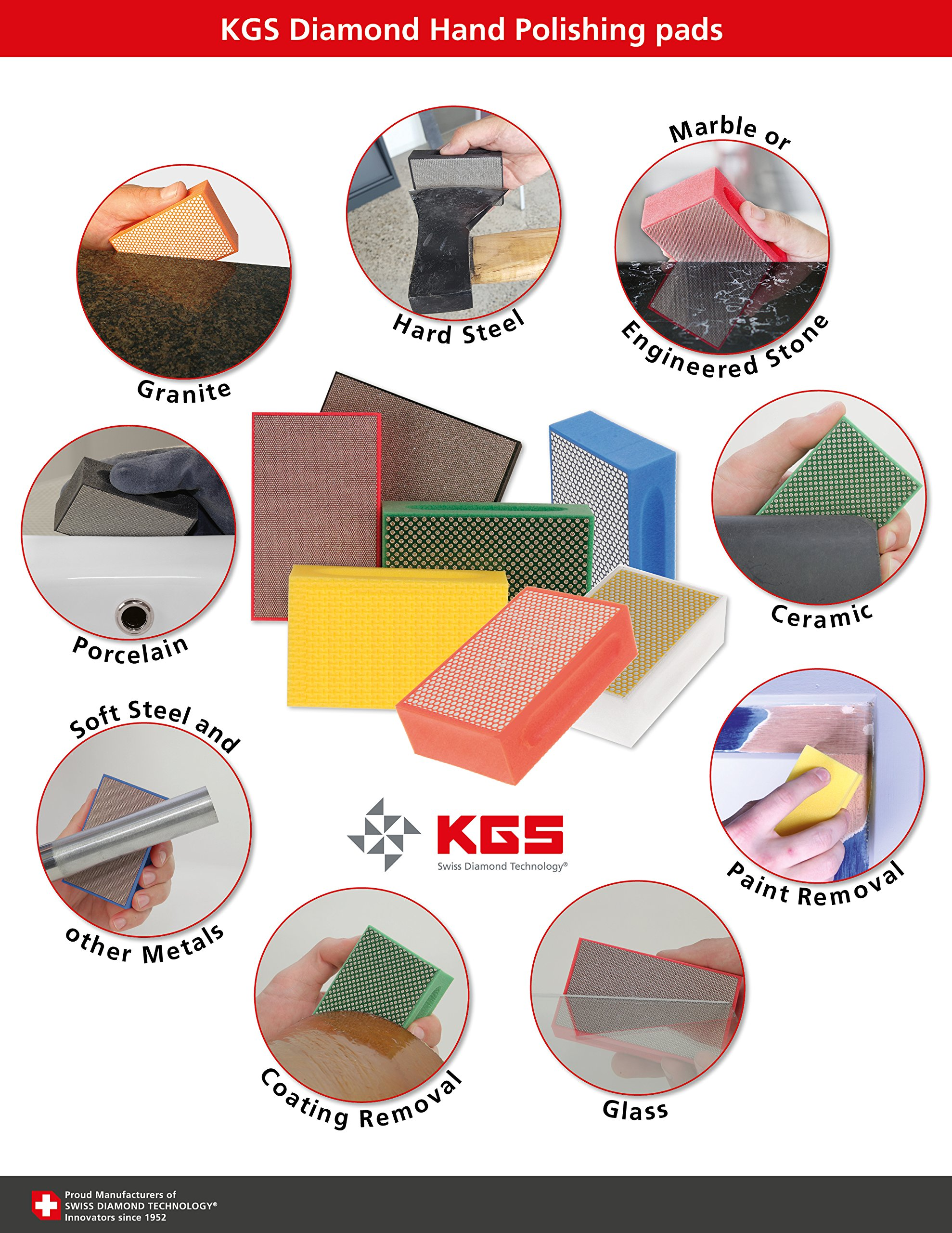 KGS Diamond Hand Polishing pads (3 Pack, Grit 60 (green))