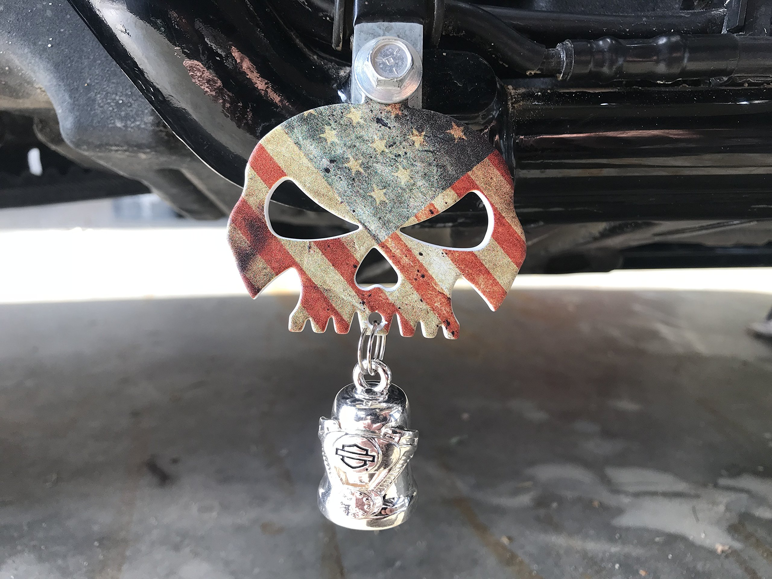 Rustic American Flag Skull Bell Hanger/Mount for Motorcycle Bolt & Ring Included fits all bikes Road King Street Glide Harley Davidson
