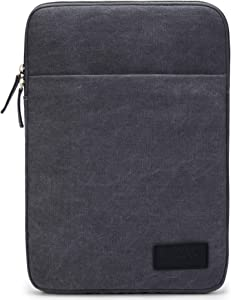 "Kinmac Grey 360° Protective Canvas Vertical Style Waterproof Laptop Sleeve with Pocket for 11.6""-12.5 inch Laptop and iPad 12.9"",MacBook 12"",New MacBook Air 13"" Retina,New MacBook Pro 13""(2016-2018)"