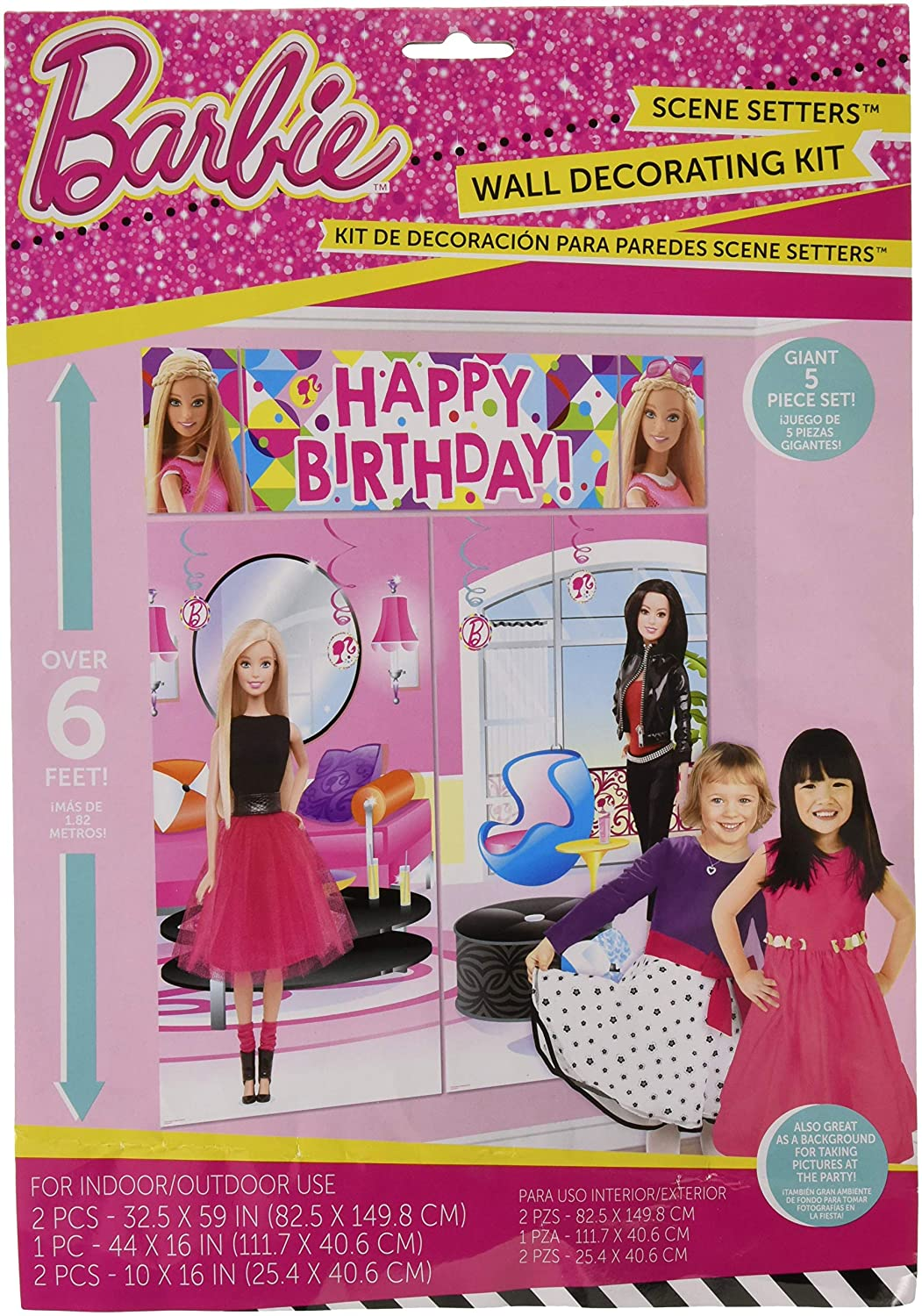 amscan Scene Setters Wall Decorating Kit | Barbie Sparkle Collection | Birthday