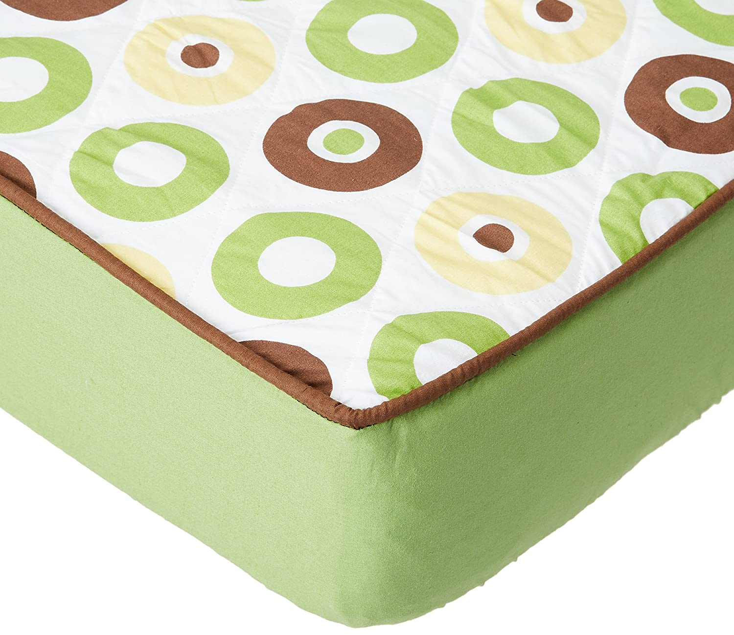 Bacati Mod Dots//Strps Green Quilted Sheet