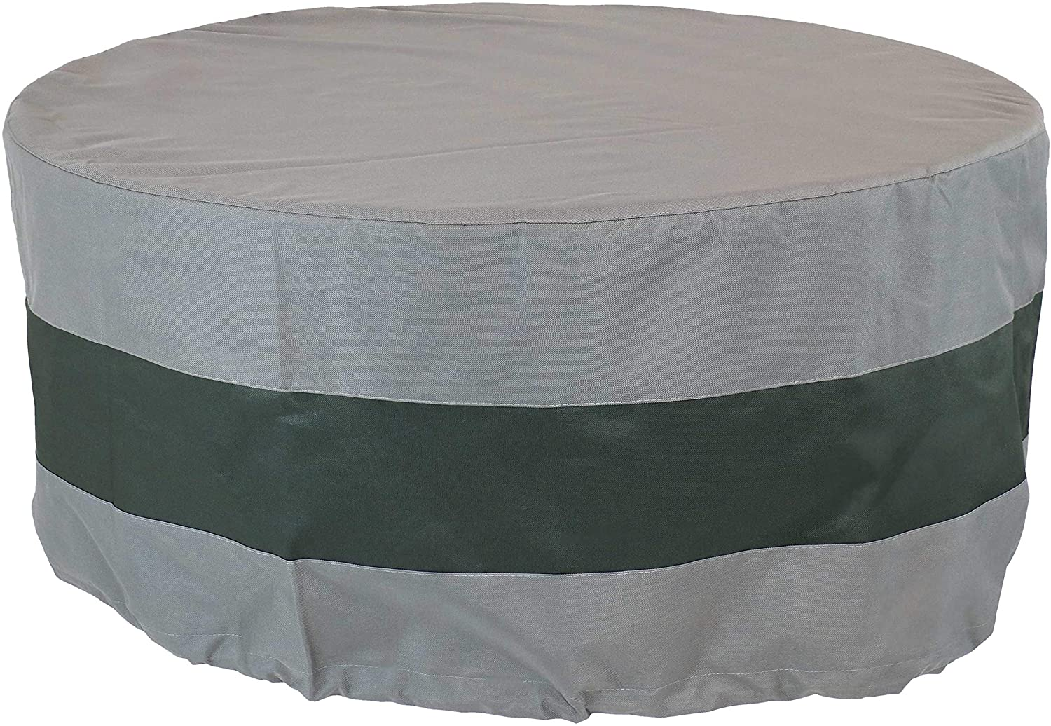Sunnydaze Round 2-Tone Outdoor Fire Pit Cover - Gray/Green Stripe - Heavy Duty 300D Polyester Exterior Circular Winter Cover for Fire Pit - Waterproof and UV-Resistant - 60-Inch x 24-Inch