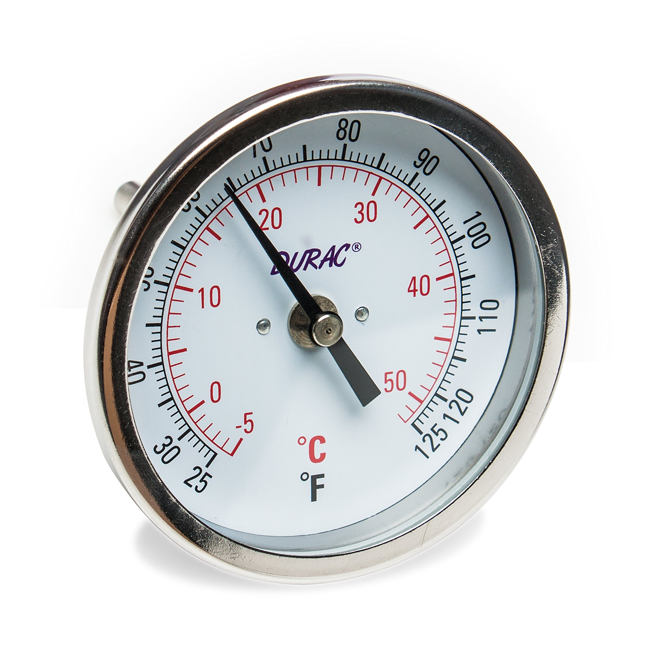 H-B DURAC Bi-Metallic Dial Thermometer; 0 to 50C (25 to 125F), 1/2 in. NPT Threaded Connection, 75mm Dial (B61310-6800)