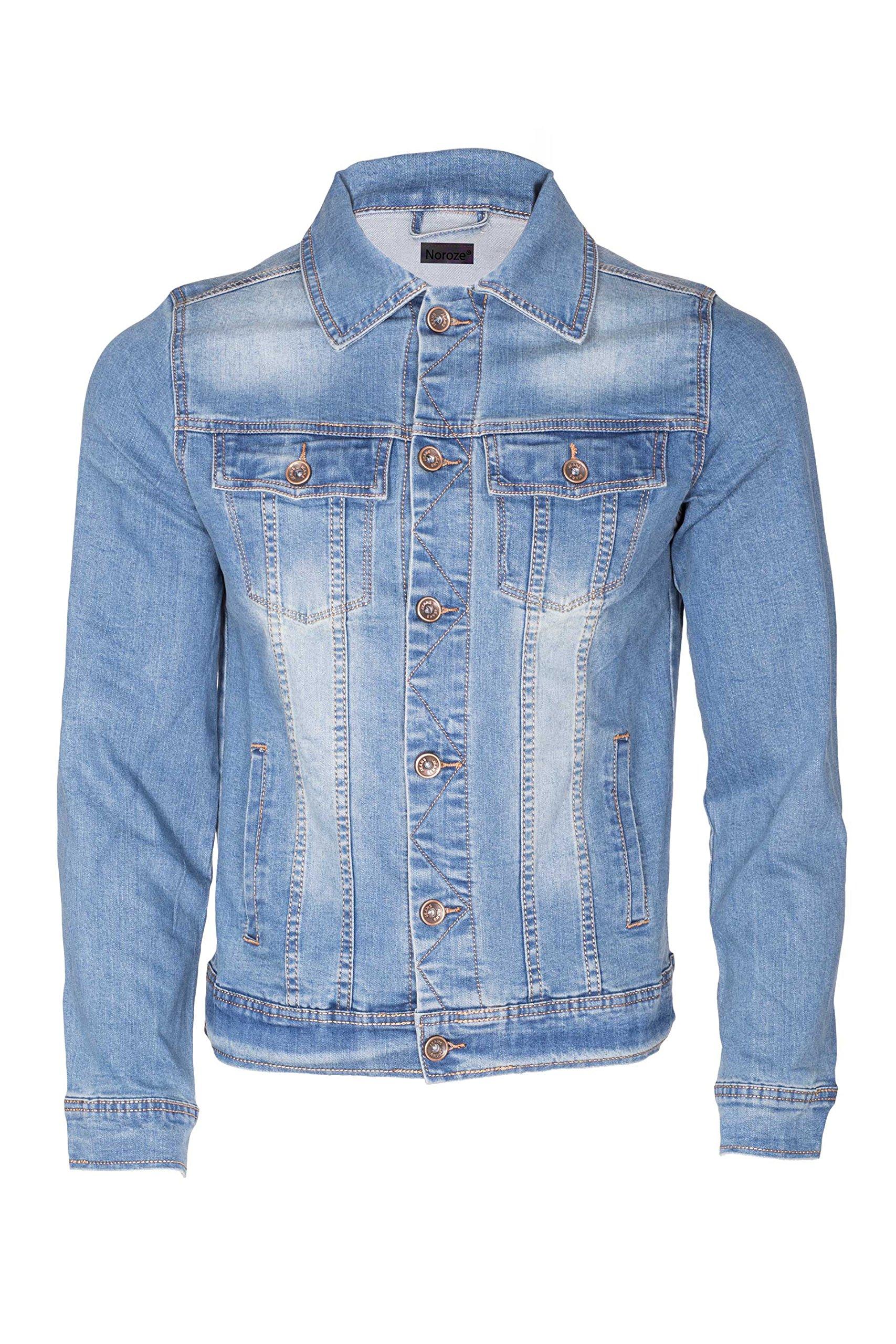 Noroze Mens Washed Denim Trucker Jacket (Blue, L)