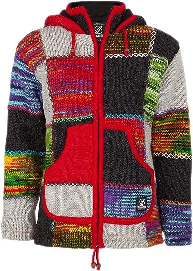 SHAKALOHA Patchwork Strickjacke Wolljacke in Bunte Farben