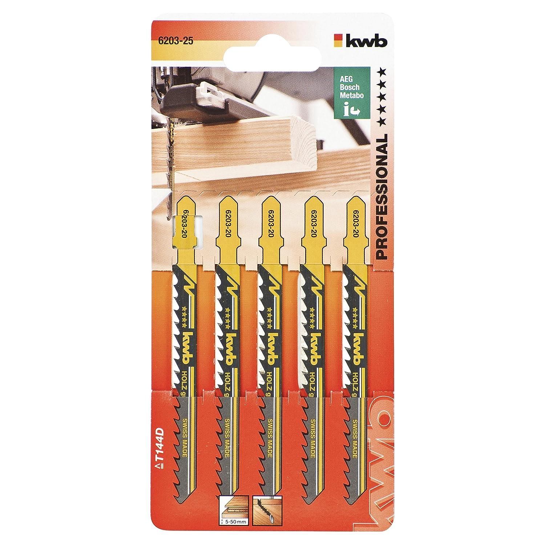 KWB 620625 - Cinco hojas de sierra de calar para madera 75/50 corte curvo KWB PRO 6206-25