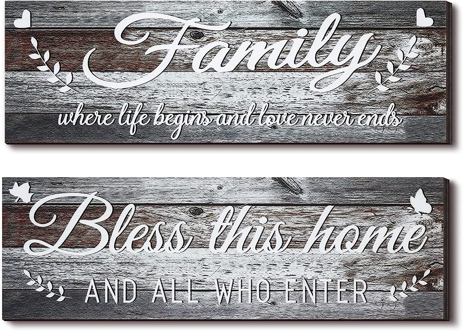 Jetec 2 Pieces Family Rustic Wooden Signs Bless This Home Wooden Wall Art Decor Farmhouse Family Entryway Sign Home Decoration for Bedroom Living Room Office Home Wall Decor, 13.8 x 4.7 Inch (Brown)