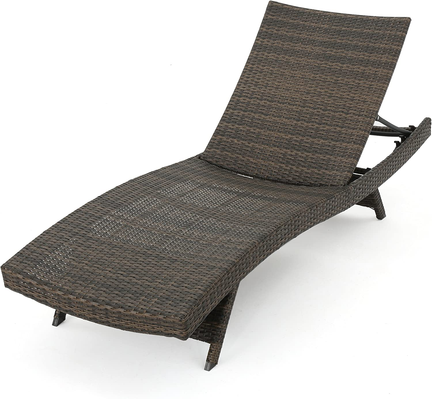 Thelma Outdoor Wicker Chaise Lounge Chair, Mix Mocha