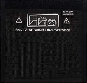 EDEC Non-Window Cell Phone Faraday Bag - Signal Blocking, Anti-Tracking, Anti-Spying, 5G RF EMF Radiation Protection for Cell Phones, Key Fobs and Credit Cards
