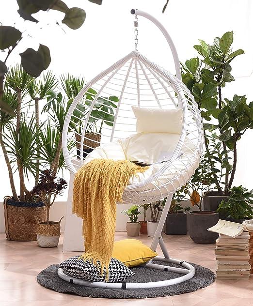 Cherry Tree Furniture Breeze White Rattan Effect Hanging Egg Chair Swing Seat Amazon Co Uk Garden Outdoors