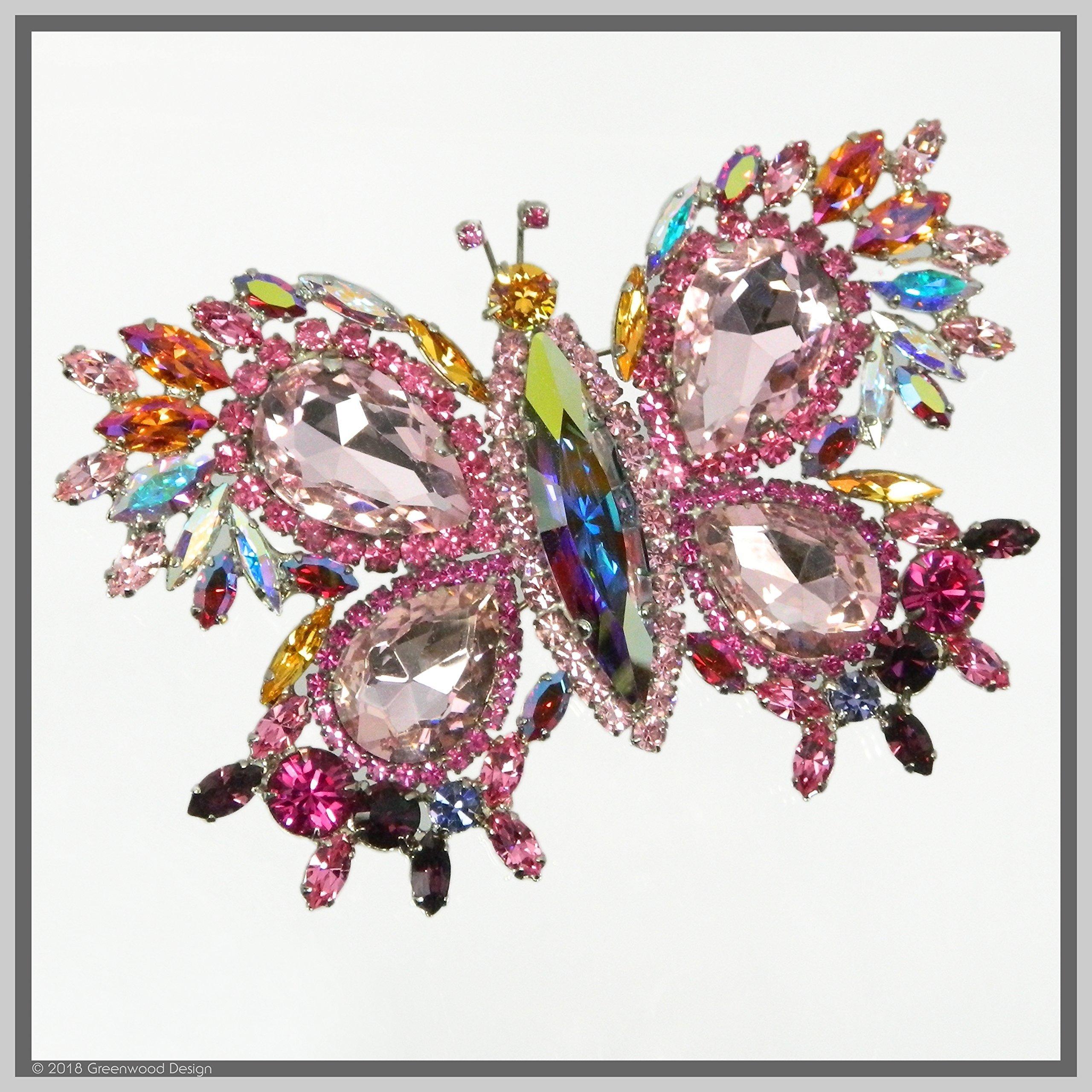 Handmade Jewelry Art Butterfly Brooch Pin Pink-Winged Swarovski Crystal Rhinestones