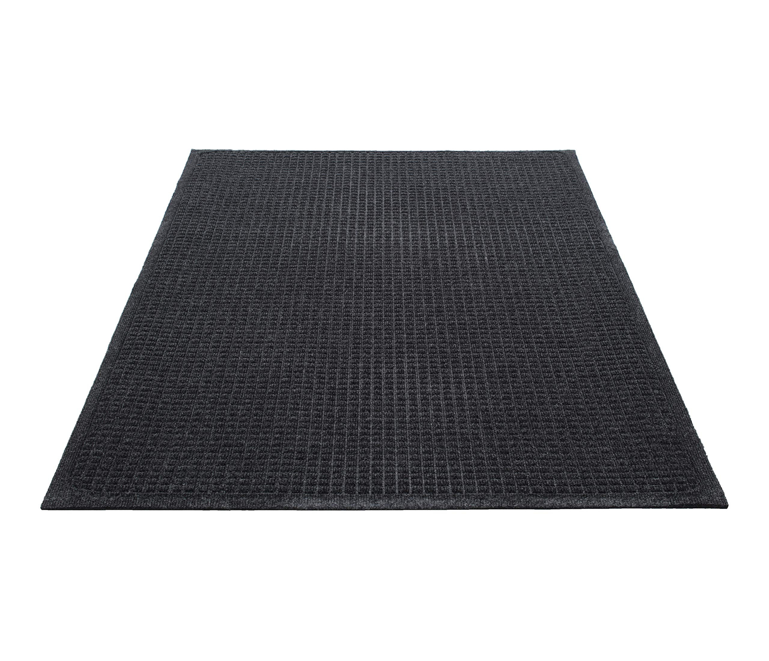 Guardian EcoGuard Indoor Wiper Floor Mat, Recycled Plastic and Rubber, 4' x 6', Charcoal by Guardian