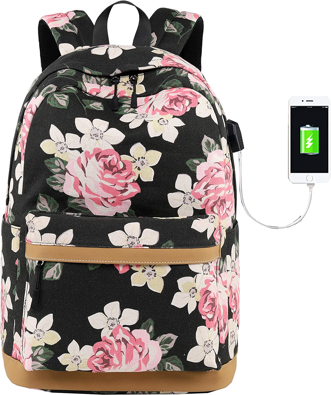 Oarencol Beautiful Tulips Colorful Flower Painting Art Backpack School Book Bag Travel Hiking Camping Laptop Daypack