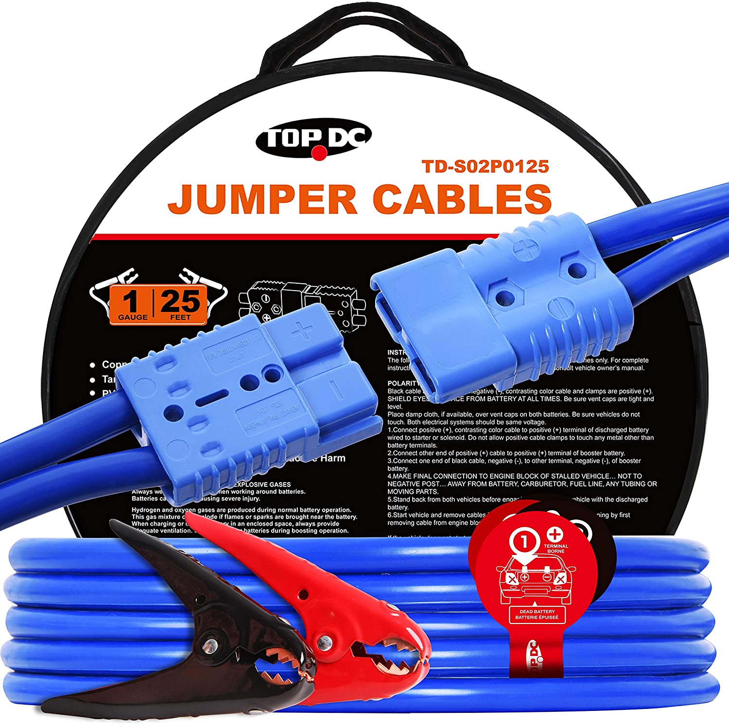 TOPDC Jumper Cables with Quick Plug 1 Gauge 25 Feet 700Amp Heavy Duty Booster Cables (1AWG x 25Ft)