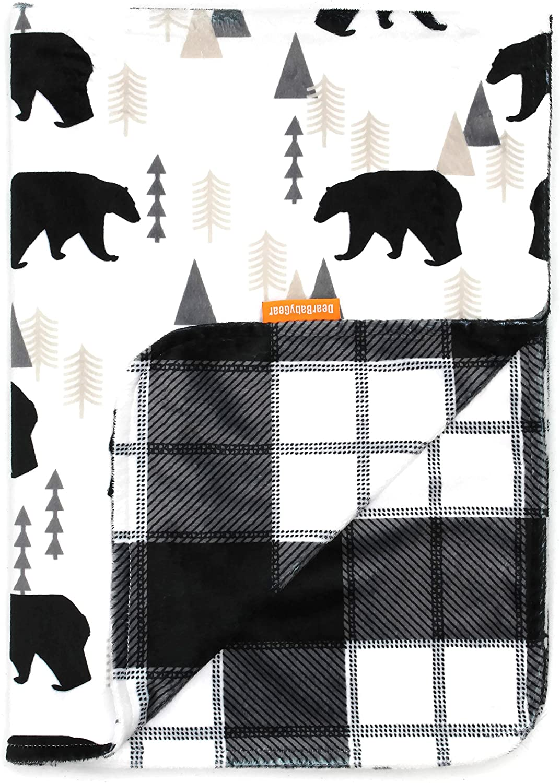 Dear Baby Gear Deluxe Combo Manta y Osos de dosel en aventura multicolor Bb Black Bears / Black and Gray Plaid Minky Negro Talla:Baby