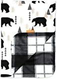 Dear Baby Gear Deluxe Baby Blankets, Custom Minky Print Black Bears, Black and Grey Plaid Minky