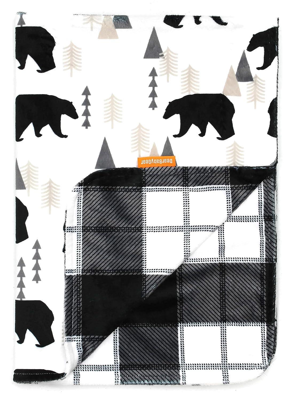 Dear Baby Gear Deluxe Baby Blankets, Custom Minky Print Black Bears, Black and Grey Plaid Minky