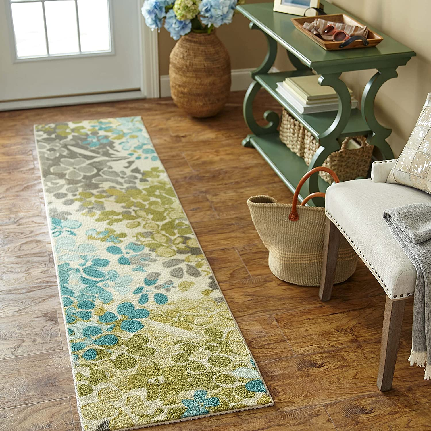 Mohawk Home Aurora Radiance Aqua Abstract Floral Runner Area Rug, 1'8