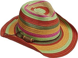 7e228d9054ef1 NEW TROPICAL TRENDS PAPER BRAID DRIFTER WAX CORD BRIGHT STRIPE WESTERN  COWBOY HAT