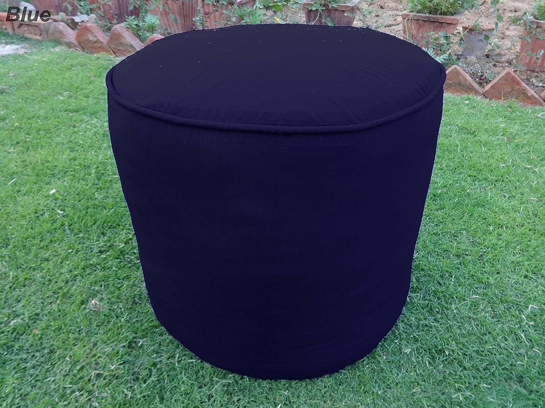 100% Cotton Plain Piping Round Ottoman Throw Pouf Cover (19
