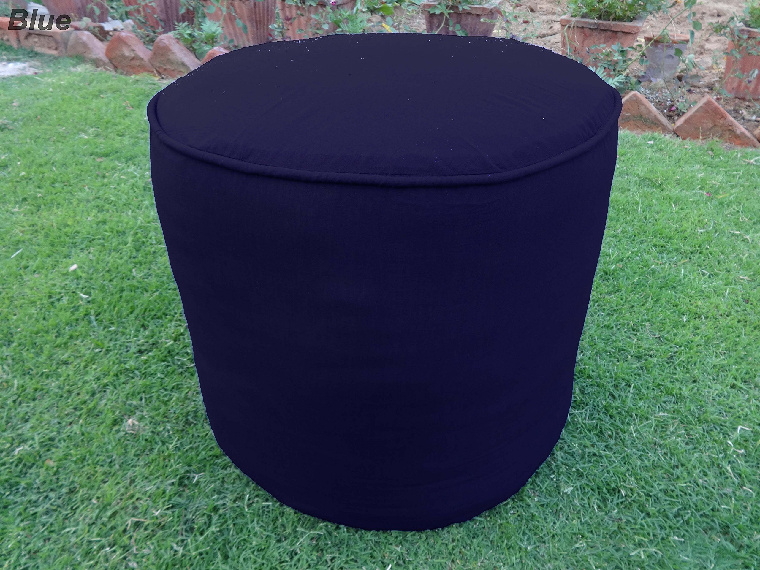 100% Cotton Plain Piping Round Ottoman Throw Pouf Cover (19''Wx16''H, Navy Blue)