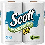Scott Rapid-Dissolving Toilet Paper, 4 Count (Pack of 12), Sewer-Safe, Septic-Safe, 1-Ply Bath Tissue, Made for RVs and Boats