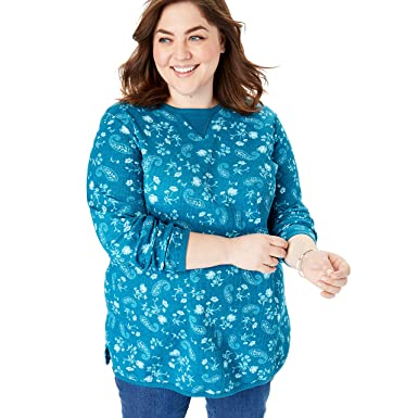 55498acc Woman Within Women's Plus Size Thermal Sweatshirt - Deep Teal Painted  Paisley, ...