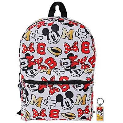 "Disney Mickey & Minnie Mouse 16"" Backpack Bag AOP & Keychain - 2 Piece Set 