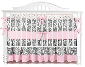 Sahaler Baby Crib Bedding Set for Girls Boys | 7 Pieces Set of Floral Nursery Bedding | Baby Blanket & Fitted Crib Sheets & Skirt & Bumper - White Floral on Grey/Ruffle Pink