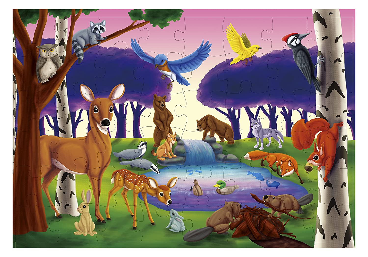 Floor Puzzles – 48 Piece Giant Floor Puzzle, Woodland Animals Jumbo Preschool Jigsaw Puzzles for Toddlers, Toy Puzzles for Kids Ages 3-5, 1.9 x 2.9 Feet Juvale