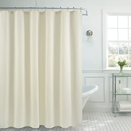 Amazon.com: Waffle Weave Fabric Shower Curtain Heavyweight (230 GSM ...