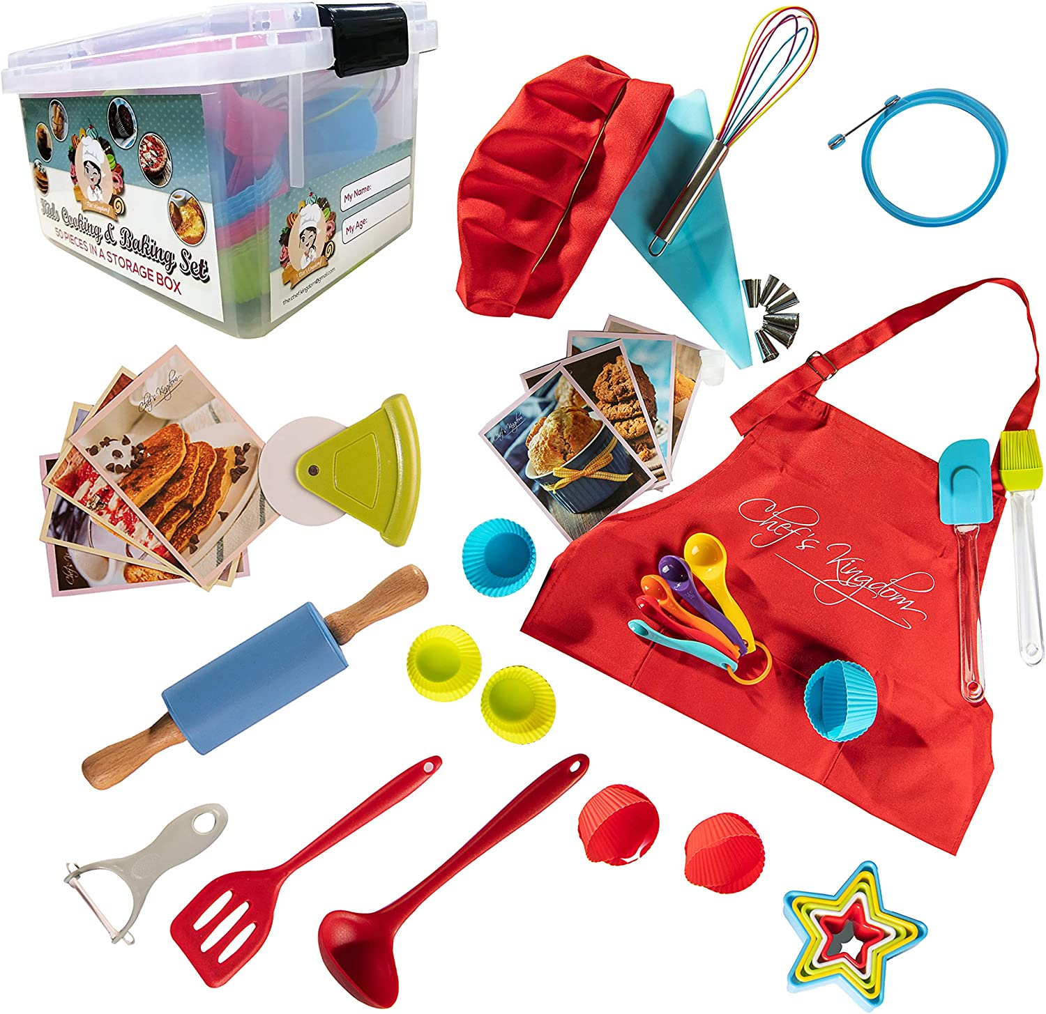 Riki's kingdom Kids Deluxe 50-Piece real baking/cooking set in a storage box with recipes/Cupcake cups/decorating kit/Cookie Cutters/Measuring Spoons/whisk/Rolling Pin (Kids set with Apron&chef Hat)