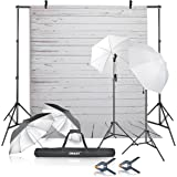 Emart Photography Umbrellas Continuous Lighting Kit, 400W 5500K, 10ft Backdrop Support System with White Wood Floor Polyester Background Screen for Photo Video Studio Shoot