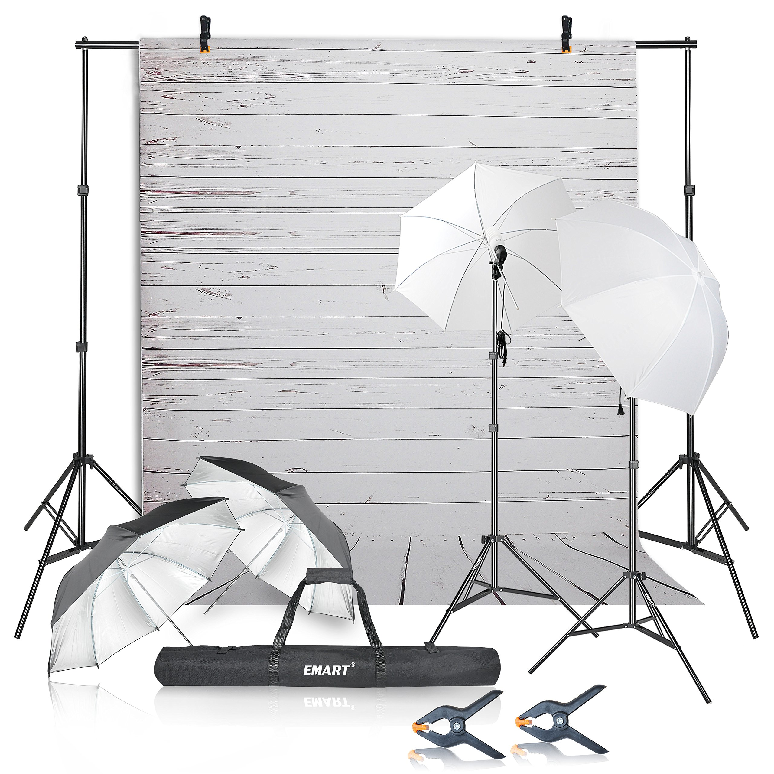 Emart Photography Umbrellas Continuous Lighting Kit, 400W 5500K, 10ft Backdrop Support System with Vinyl Plastic White Wood Floor Background Screen for Photo Video Studio Shooting by EMART