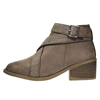 Via Rosa Women's Microsuede Ankle Boots with Studded Straps Slip-On Fashion Shoes   Ankle & Bootie