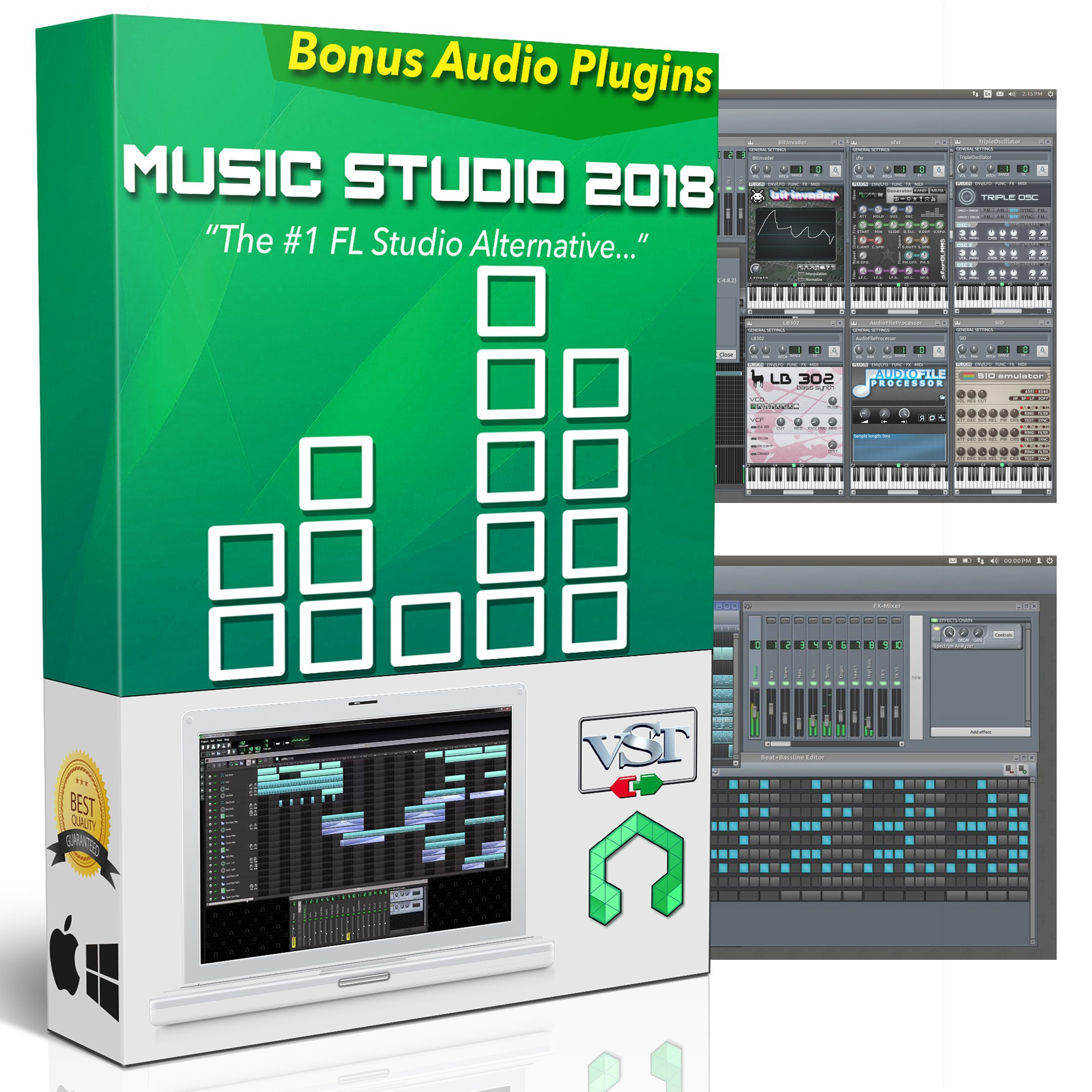 Music Studio 2018: Music Production Software - Best Audio Recording & Editing Software for Windows, Mac, & Linux + Audio Plugins, Tutorials & Guides Bundle by Music Studio