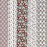 Textiles français Stoffpak - 5 Coupons Tissus - Collection 'rêve la vie en couleur' - gris taupe et beige avec rouge - 50 cm x 40 cm chacun