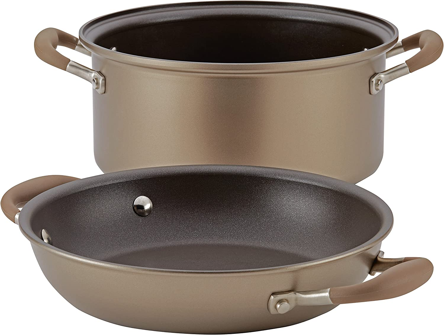 Anolon Advanced 2-in-1 Nonstick 5-Quart Dutch Oven With Everything Pan Lid, 11-Inch, Bronze