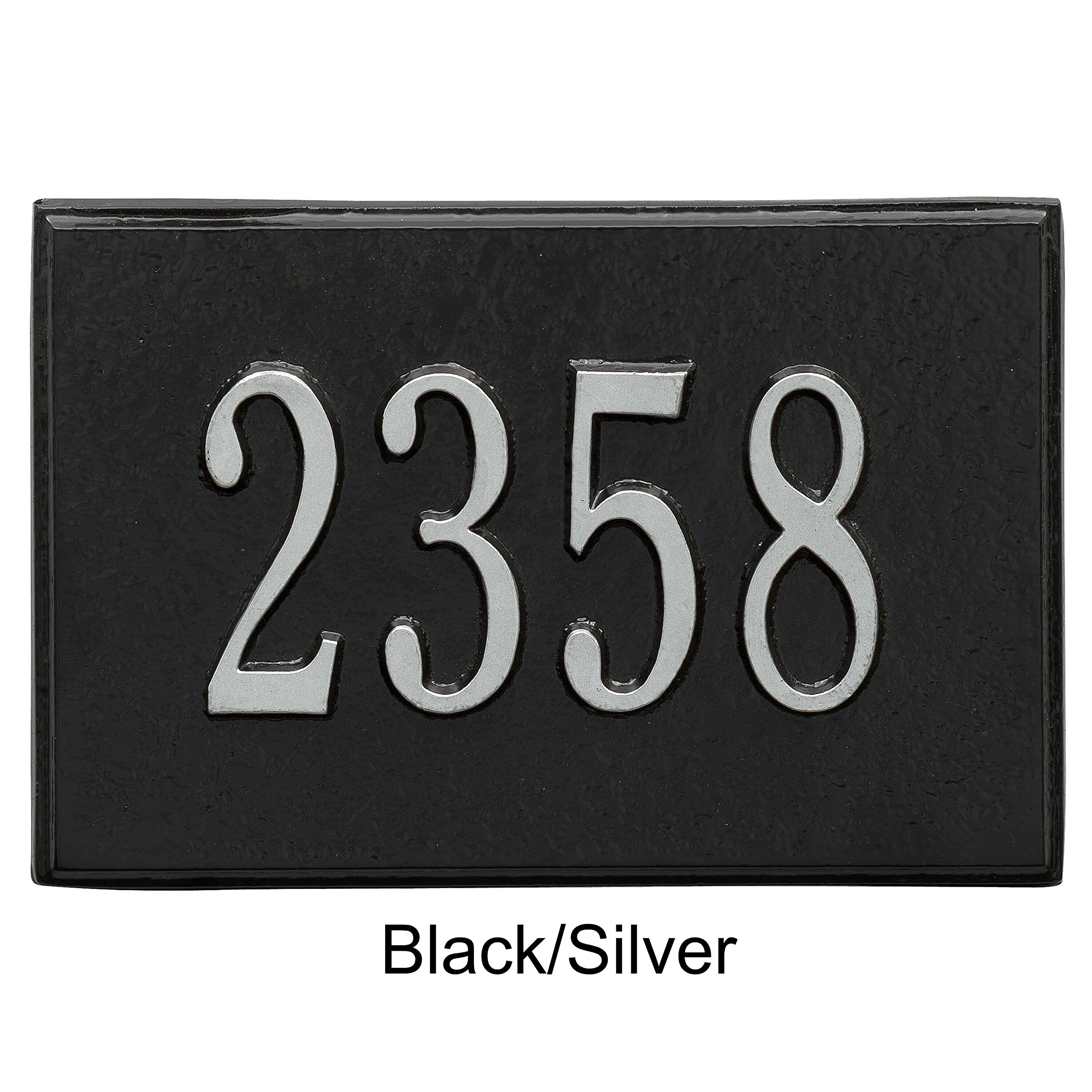 Whitehall Locking Wall Mailbox Number Plaque Insert in Black with Silver Writing