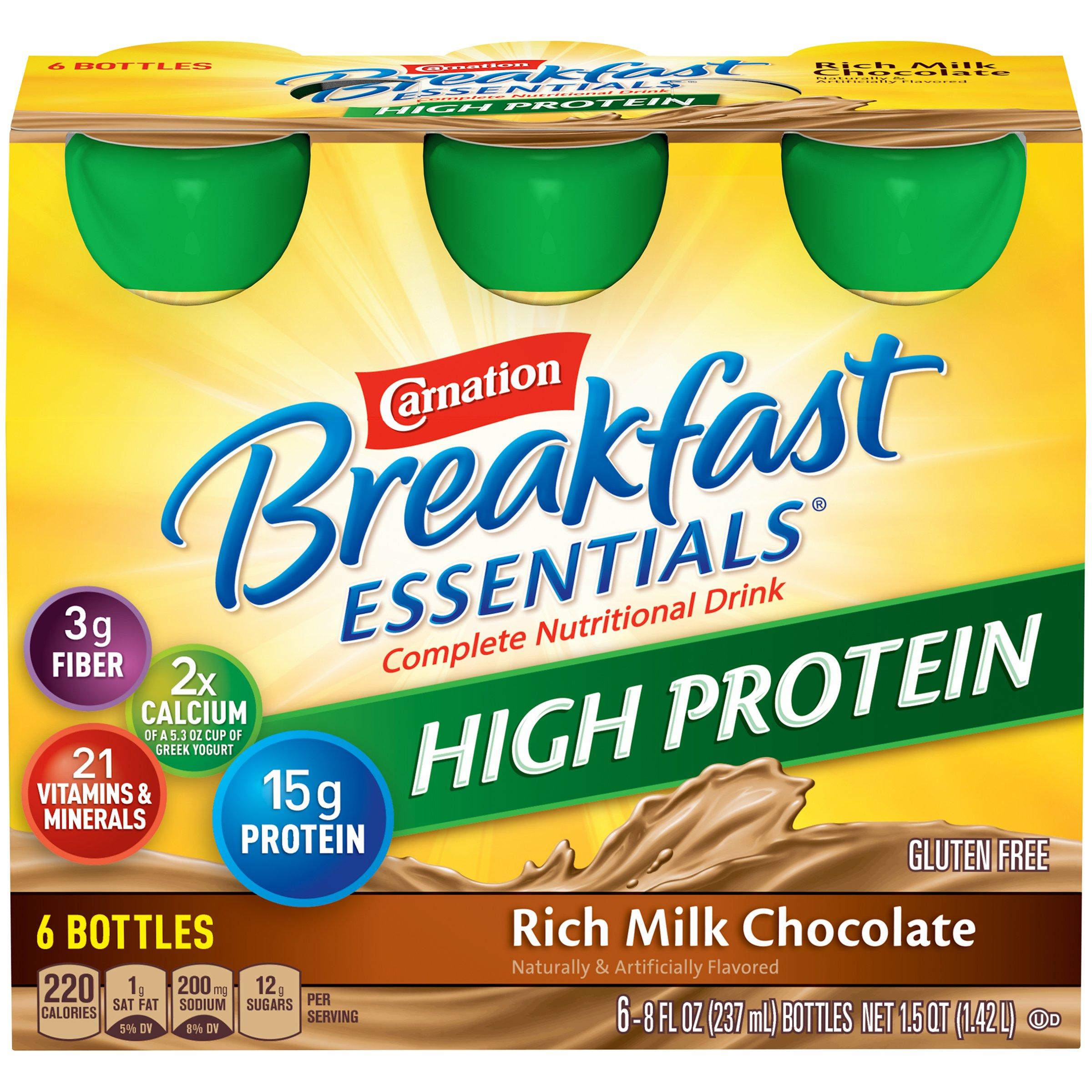 Carnation Breakfast Essentials High Protein Ready To Drink, Rich Milk Chocolate, 8 Fluid Ounce (8 Fl. Oz) by Carnation