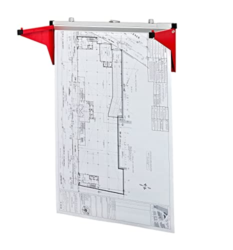 AdirOffice Drop   Lift Wall Rack For Blueprints   Plans (Red)