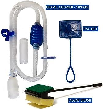 Aqua Care Accesorio de acuario Kit - pescados Net, sifón limpia grava y algas cepillo - perfecto acuario arranque suministro de paquete: Amazon.es: ...